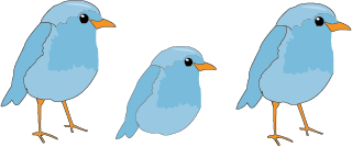 cartoon of three bluebirds