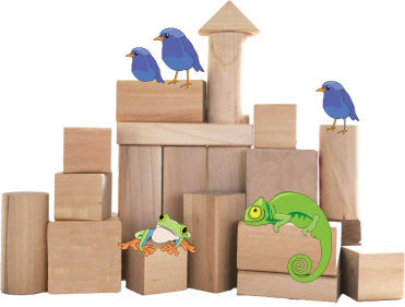 a set of blocks a cartoon chameleon, frog, and birds atop